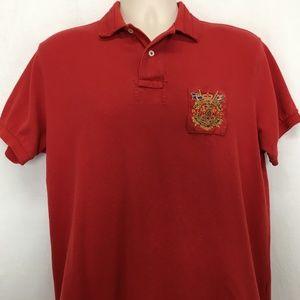 Polo Ralph Lauren Mens L Polo Shirt Crest Logo Red